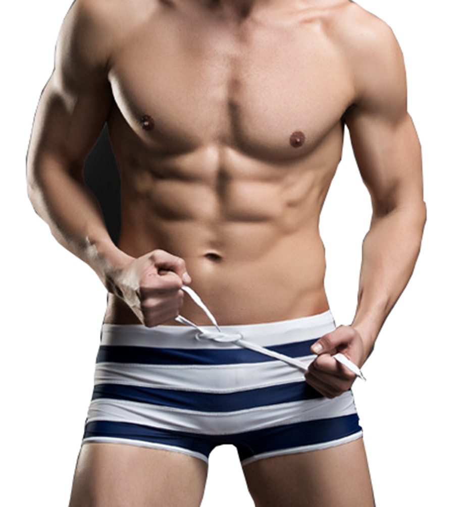 Linemoon Men's Fashion Stripe Nylon Navy Boxer Swimwears 34-37 Inches